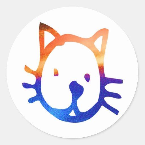 Smiley Cat Round Sticker