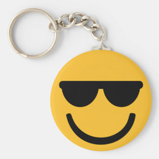 Smiley cool sunglasses basic round button key ring