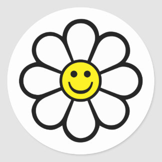 Smiley Daisy Classic Round Sticker