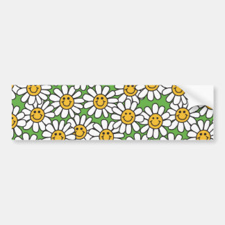 Smiley Daisy Flowers Pattern Bumper Sticker