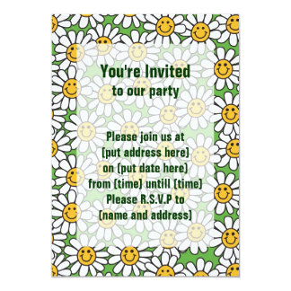 Smiley Daisy Flowers Pattern Card
