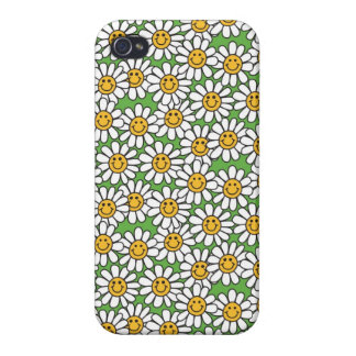 Smiley Daisy Flowers Pattern iPhone 4/4S Case