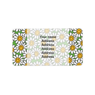 Smiley Daisy Flowers Pattern Label