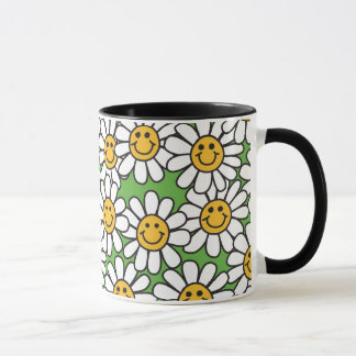 Smiley Daisy Flowers Pattern Mug