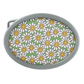 Smiley Daisy Flowers Pattern Oval Belt Buckles