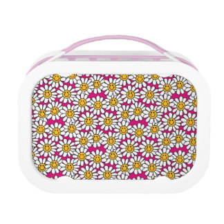 Smiley Daisy Flowers Pattern Pink Yellow Lunch Box
