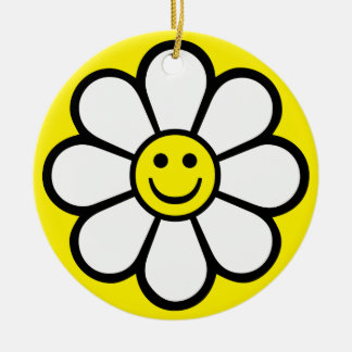 Smiley Daisy Round Ceramic Decoration