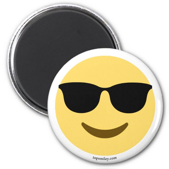 Smiley Emoji with sun glasses coolly 6 Cm Round Magnet