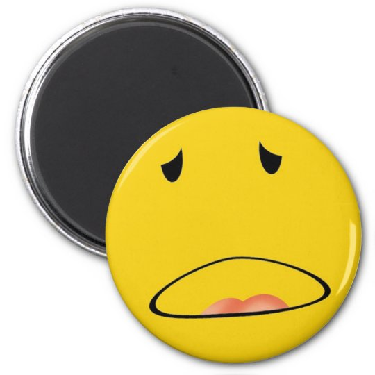 smiley emoticon i feel sick 6 cm round magnet