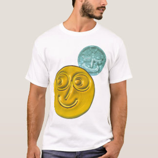 Smiley Face , Amber/ Arctic Blue. T-Shirt