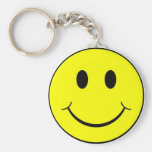 smiley face basic round button key ring