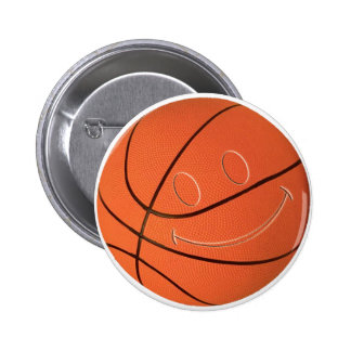 SMILEY FACE BASKETBALL 6 CM ROUND BADGE
