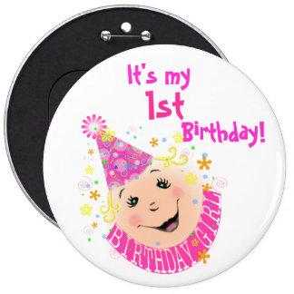 Smiley Face Birthday Girl Button
