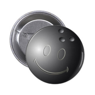 SMILEY FACE BOWLING BALL 6 CM ROUND BADGE