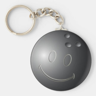 SMILEY FACE BOWLING BALL BASIC ROUND BUTTON KEY RING