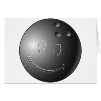 SMILEY FACE BOWLING BALL GREETING CARD