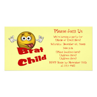 Smiley Face Brat Child Cute Invitation Photo Card