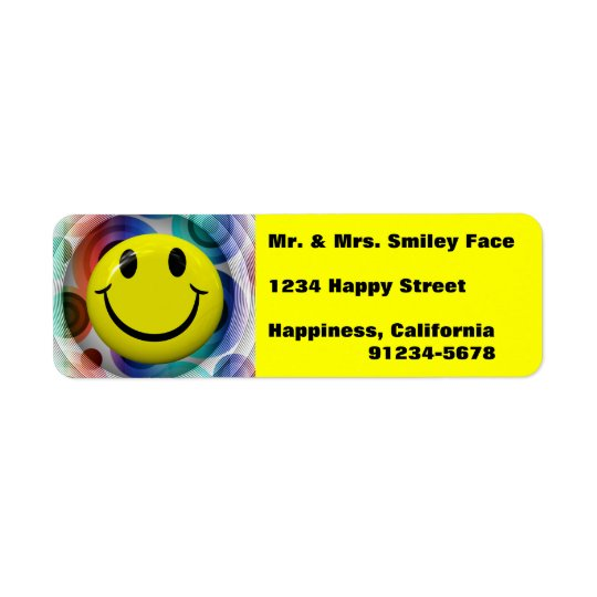 Smiley Face Colourful, Bright Return Address