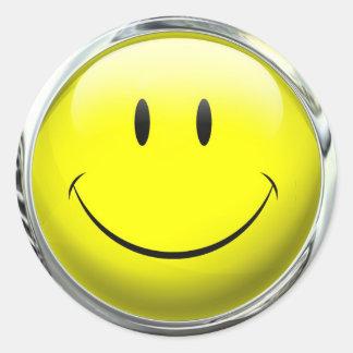 Smiley Face Emoticon Glass Ball Classic Round Sticker