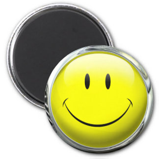 Smiley Face Emoticon Glass Ball Magnet