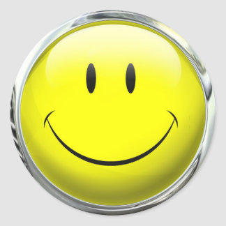 Smiley Face Emoticon Glass Ball Round Sticker
