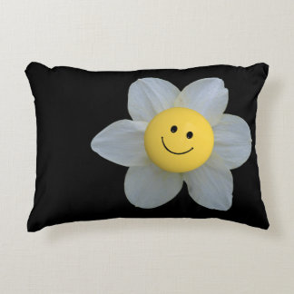 Smiley Face Flower On Black Accent Pillow