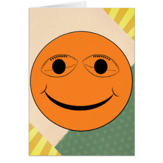 SMILEY FACE FOOTBALL EYES GREETING CARD