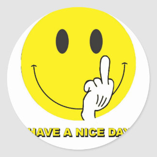 smiley face giving the finger classic round sticker
