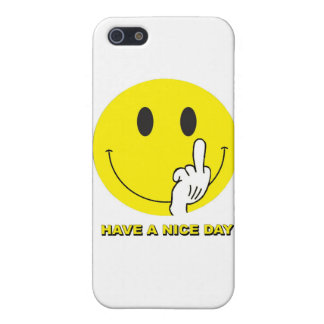 smiley face giving the finger iPhone 5/5S cases