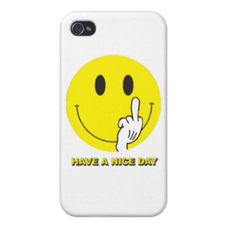 smiley face giving the finger iPhone 4/4S cases