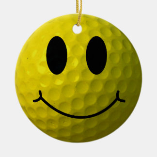 Smiley Face Golf Ball Christmas Ornament