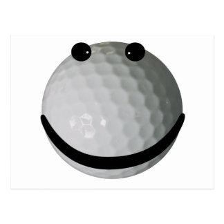 Smiley face golf ball postcards