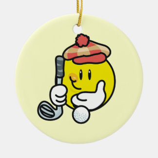 Smiley Face Golf T-shirts and Gifts Round Ceramic Decoration