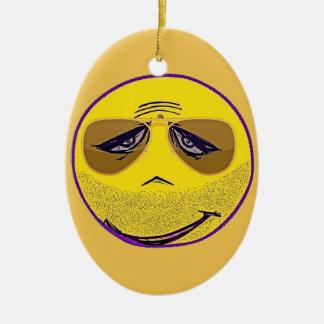 Smiley Face Guru Cool Ceramic Oval Decoration