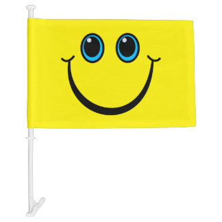 Smiley Face Have a nice day Yellow Car Flag