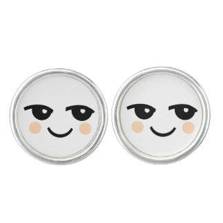 SMILEY FACE  ILLUSTRATION ROUND CUFF LINKS
