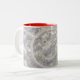 Smiley face in the sand beach drawing happy mug