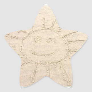 Smiley face in the sand happy heart beach drawing star sticker