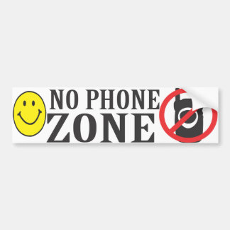 Smiley Face No Phone Zone Bumper Sticker Car Bumper Sticker