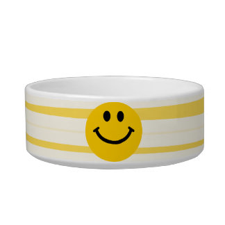 Smiley Face on sunny yellow stripes Bowl