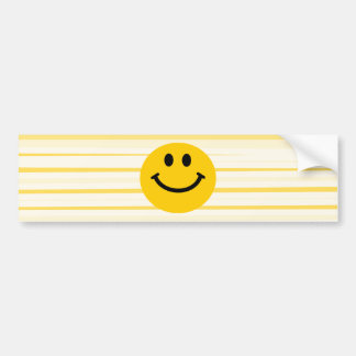 Smiley Face on sunny yellow stripes Bumper Sticker