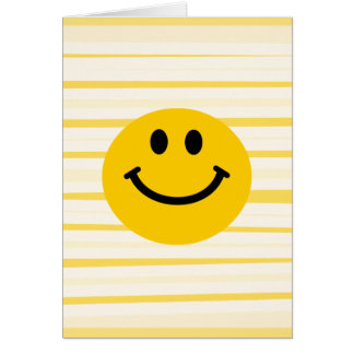 Smiley Face on sunny yellow stripes Cards