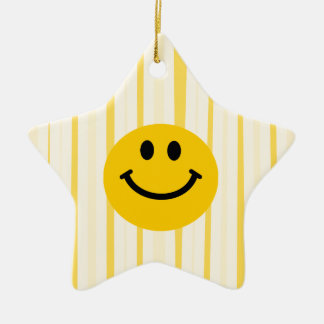 Smiley Face on sunny yellow stripes Christmas Ornament