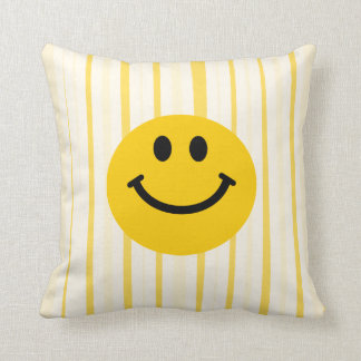 Smiley Face on sunny yellow stripes Cushion