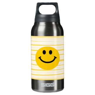 Smiley Face on sunny yellow stripes Insulated Water Bottle