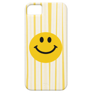 Smiley Face on sunny yellow stripes iPhone 5 Cover