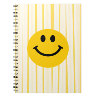 Smiley Face on sunny yellow stripes Notebook