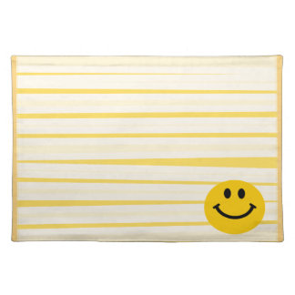 Smiley Face on sunny yellow stripes Placemat