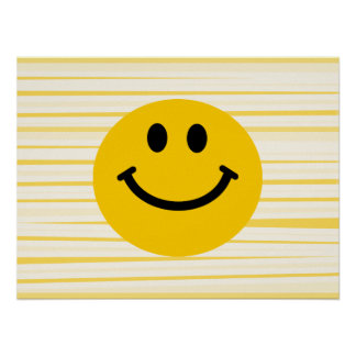 Smiley Face on sunny yellow stripes Poster