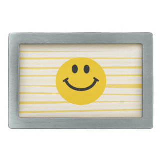Smiley Face on sunny yellow stripes Rectangular Belt Buckles